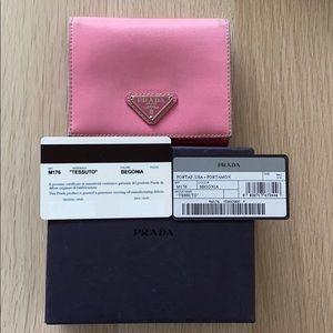Prada Triangle Emblem Wallet- Pink (Begonia)